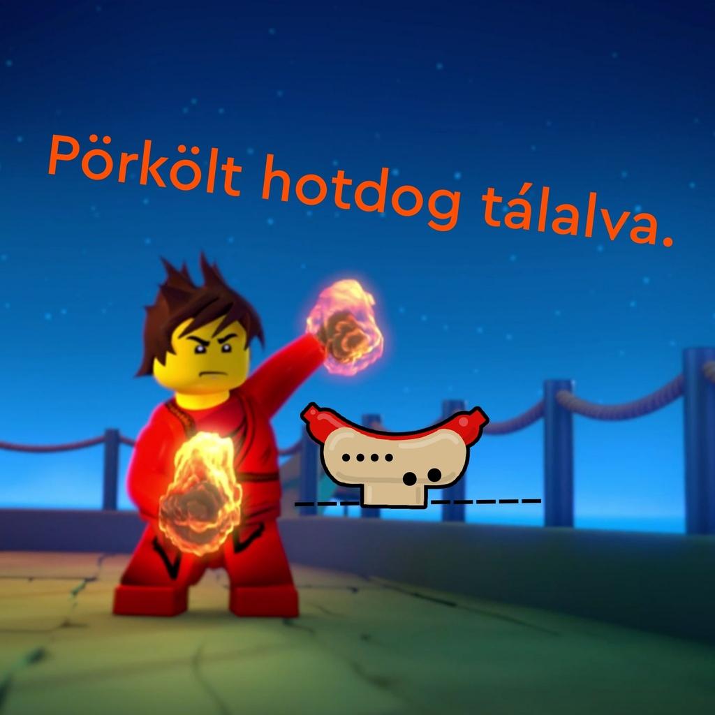 Pörkölt hotdog tálalva.