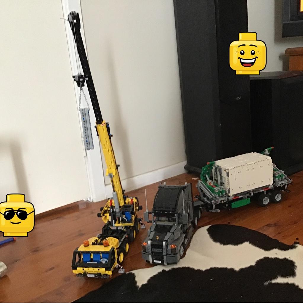 A technic crane and a Mack truck