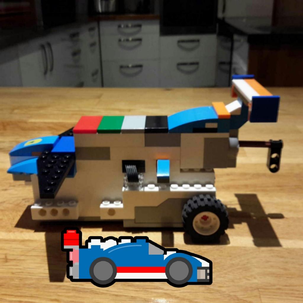 En racerbil med lego boost
