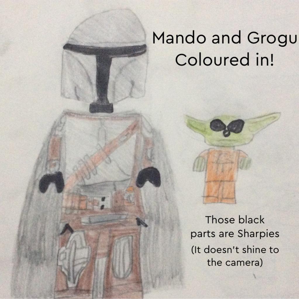 Mando and Grogu Coloured in
