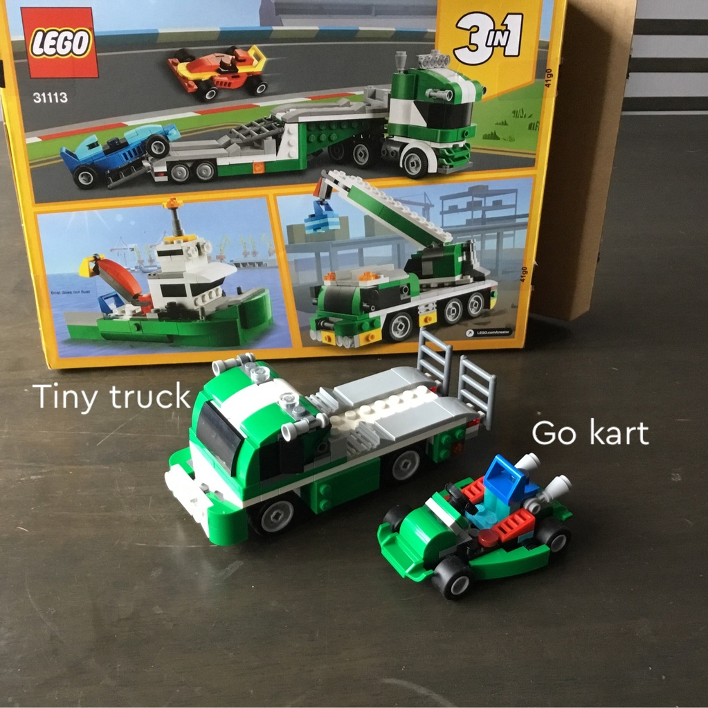 A tiny truck with a go kart