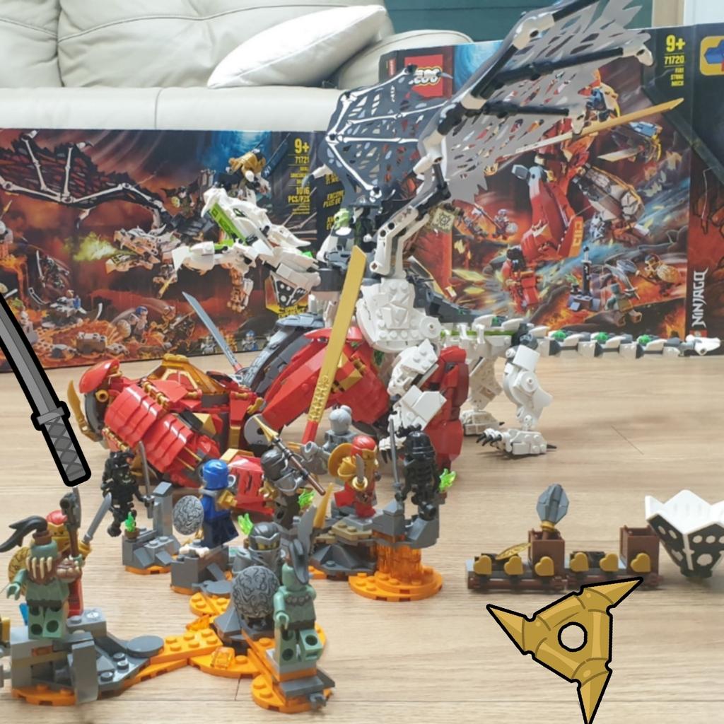 레고 스컬드래곤과 파이어스톤로봇의 전투!